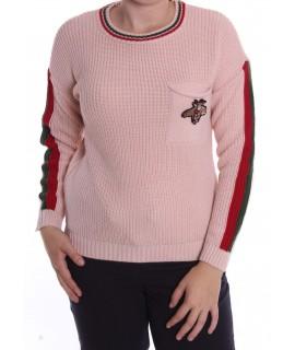 Dámsky pletený pulóver s LIENKOU (7916) - staroružový D3