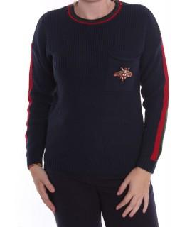 Dámsky pletený pulóver s LIENKOU (7916) - tmavomodrý D3