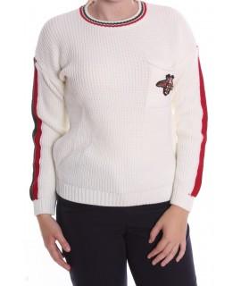 Dámsky pletený pulóver s LIENKOU (7916) - biely D3