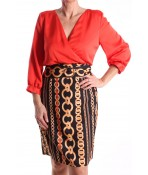 Dámske elastické šaty so sponou - červeno-čierne D3