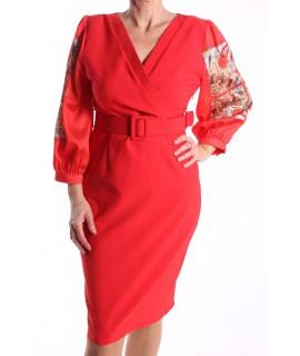 Dámske elastické šaty s opaskom - červené D3
