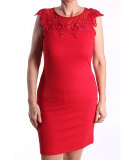 Dámske elastické šaty ozdobené s korálkami a flitrami - červené D3