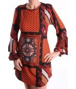 Dámske elastické šaty s volánikmi vzorované - hnedé D3