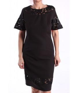 Dámske elastické šaty kombinované čipkou M&M - čierne D3