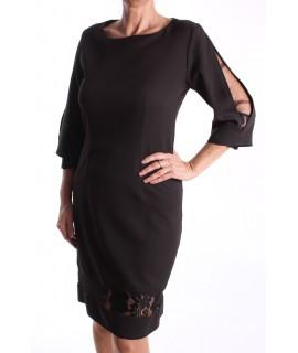 Dámske elastické šaty s čipkou M&M - čierne D3