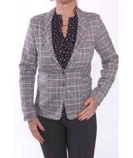 Dámske kockované sako podšité - ružovo-sivé