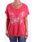 Dámske tričko s motýlikom - ružové
