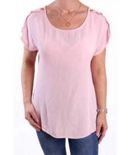 Dámske tričko s gombíkmi - ružové UNIQUE