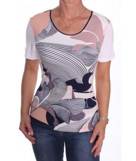 Dámske elastické tričko s farebným vzorom - biele