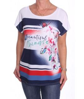 Dámske elastické tričko s motýlikmi a s kvetom - biele