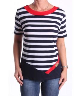 Dámske elastické tričko pásikavé - tmavomodro-biele