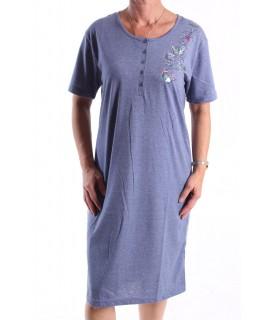 Dámska nočná košeľa (H2813) s krátkym rukávom a s motýlikmi - modrá