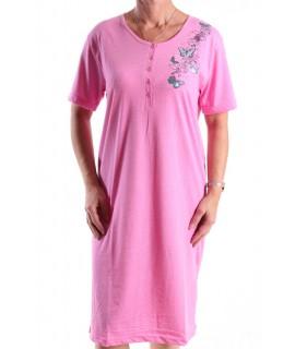 Dámska nočná košeľa (H2813) s krátkym rukávom a s motýlikmi - ružová