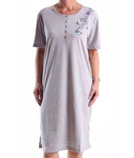 Dámska nočná košeľa (H2813) s krátkym rukávom a s motýlikmi - bledosivá