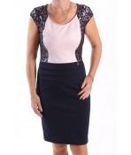 Dámske elastické spoločenské šaty kombinované s čipkou - ružovo-tmavomodré BOTEGA ELENA