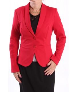 Dámske sako s golierom a paspólom -červený STUMAX