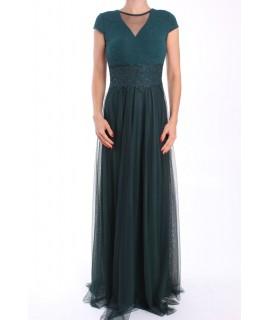 Dámske dlhé spoločenské šaty (38311) - tmavozelené