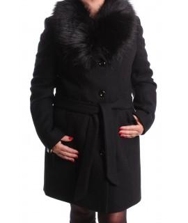 Dámsky flaušový kabát STELLA - čierny AD