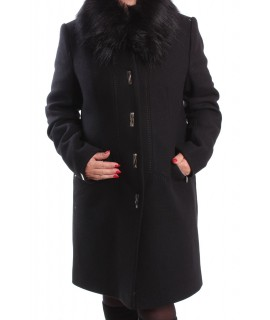 Dámsky flaušový kabát BOŽENA - čierny AD