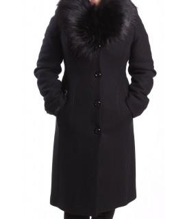 Dámsky flaušový kabát SONATA - čierny AD