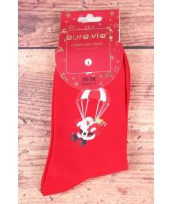 Vianočné bavlnené ponožky (SNX5711) - Mikuláš s padákom - červené