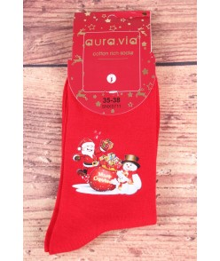 Vianočné bavlnené ponožky (SNX5711) - Mikuláš a snehuliačiky