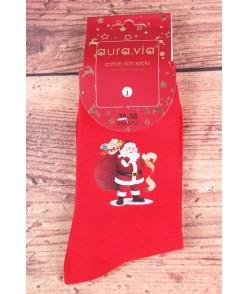 Vianočné bavlnené ponožky (SNX5711) - Mikuláš a darčeky - červené