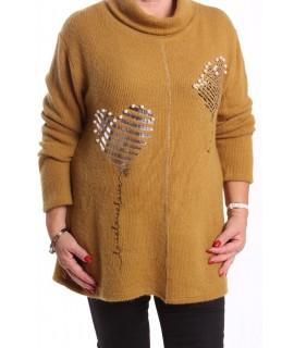 Dámsky pulóver s korálkami - okrový