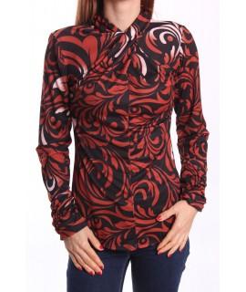 Dámske elastické vzorované tričko - hnedo-čierne