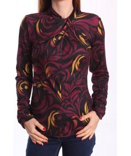Dámske elastické vzorované tričko - fialovo-čierne