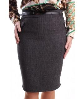 Dámska elastická sukňa s opaskom (1190) SAFFET - čierno-sivá