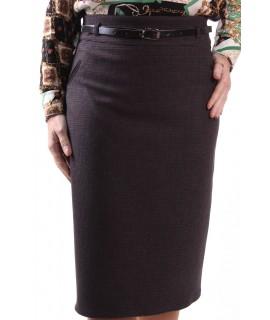 Dámska elastická sukňa s opaskom (1190) SAFFET - čierno-bordová