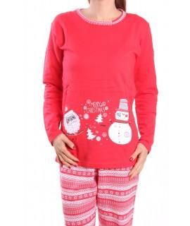 Dámske pyžamo polozateplené SNEHULIAK - červené