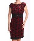 Dámske elastické spoločenské šaty s červeným vzorom - čierne BOTEGA ELENA