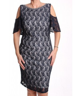 Dámske elastické spoločenské šaty čipkované s korálkami BOTEGA ELENA - bielo-tmavomodré