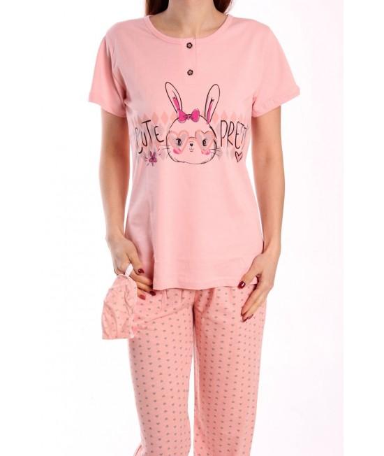 Dámske pyžamo s krátkym rukávom SNC-8015 - marhuľové