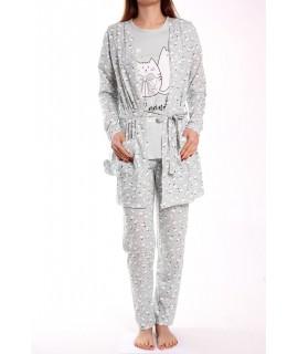 Dámske pyžamo 3-dielne SNC-8038 - bledozelené