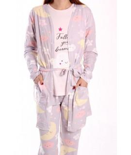 Dámske pyžamo 3-dielne SNC-8035 - bledosivé
