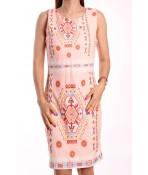 Dámske letné šaty elastické vzorované NEW COLLECTION - broskyňové