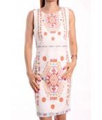Dámske letné šaty elastické vzorované NEW COLLECTION - biele