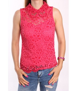 Dámska blúzka elastická krajková s golierom MISS NORA - červená