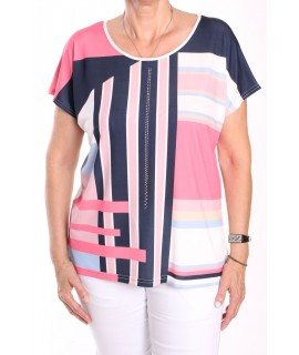 Dámske tričko s farebnými pásikmi MARGUERITE BY MAKO - biele