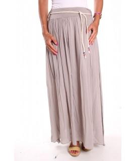 Dámska dlhá sukňa so šnúrou - bledosivá