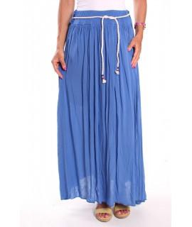 Dámska dlhá sukňa so šnúrou - modrá