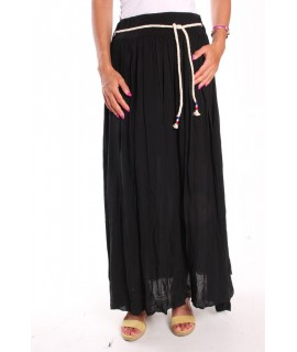 Dámska dlhá sukňa so šnúrou - čierna