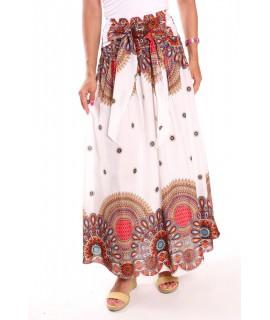 Dámska dlhá sukňa na gumu vzorovaná - biela