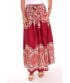 Dámska dlhá sukňa na gumu vzorovaná - bordová