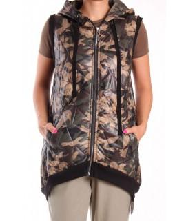 Dámska vesta na zips a s kapucňou KOMSHE - maskáčová