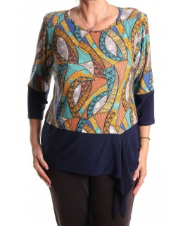 Dámske tričko elastické vzorované - tyrkysovo-tmavomodré
