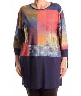 Dámske tričko elastické vzorované VIOMAX - tehlovo-tmavomodré